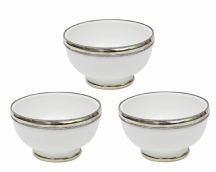 "Moroccan Ceramic Bowls Triple Pack with Silver Edge Handmade in Morocco. 8 cm / 3"" (White)"